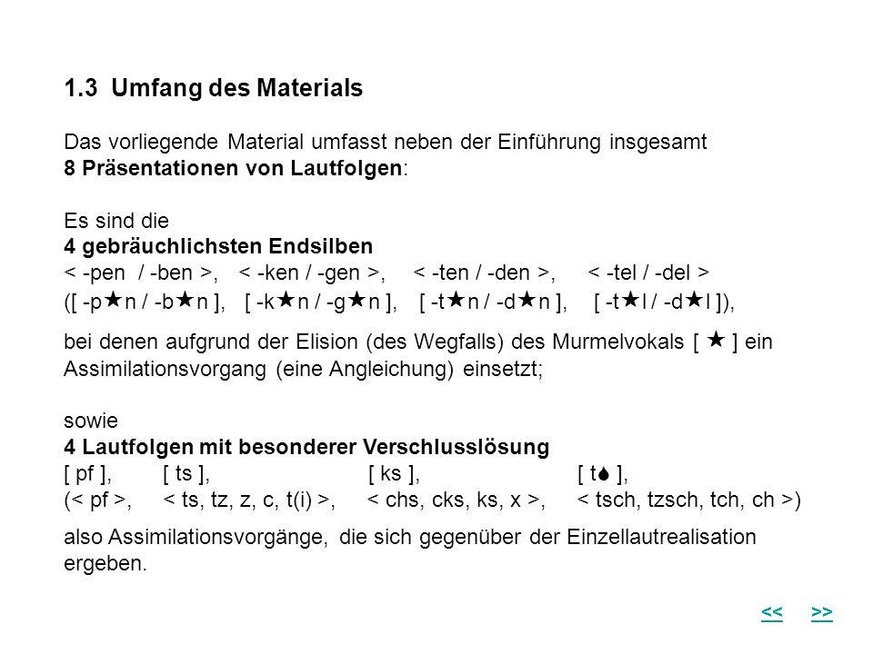 1.3 Umfang des Materials Das vorliegende Material umfasst neben der Einführung insgesamt 8 Präsentationen von Lautfolgen: Es sind die 4 gebräuchlichsten Endsilben < -pen / -ben >, < -ken / -gen >, < -ten / -den >, < -tel / -del > ([ -pn / -bn ], [ -kn / -gn ], [ -tn / -dn ], [ -tl / -dl ]), bei denen aufgrund der Elision (des Wegfalls) des Murmelvokals [  ] ein Assimilationsvorgang (eine Angleichung) einsetzt; sowie 4 Lautfolgen mit besonderer Verschlusslösung [ pf ], [ ts ], [ ks ], [ t ], (< pf >, < ts, tz, z, c, t(i) >, < chs, cks, ks, x >, < tsch, tzsch, tch, ch >) also Assimilationsvorgänge, die sich gegenüber der Einzellautrealisation ergeben.